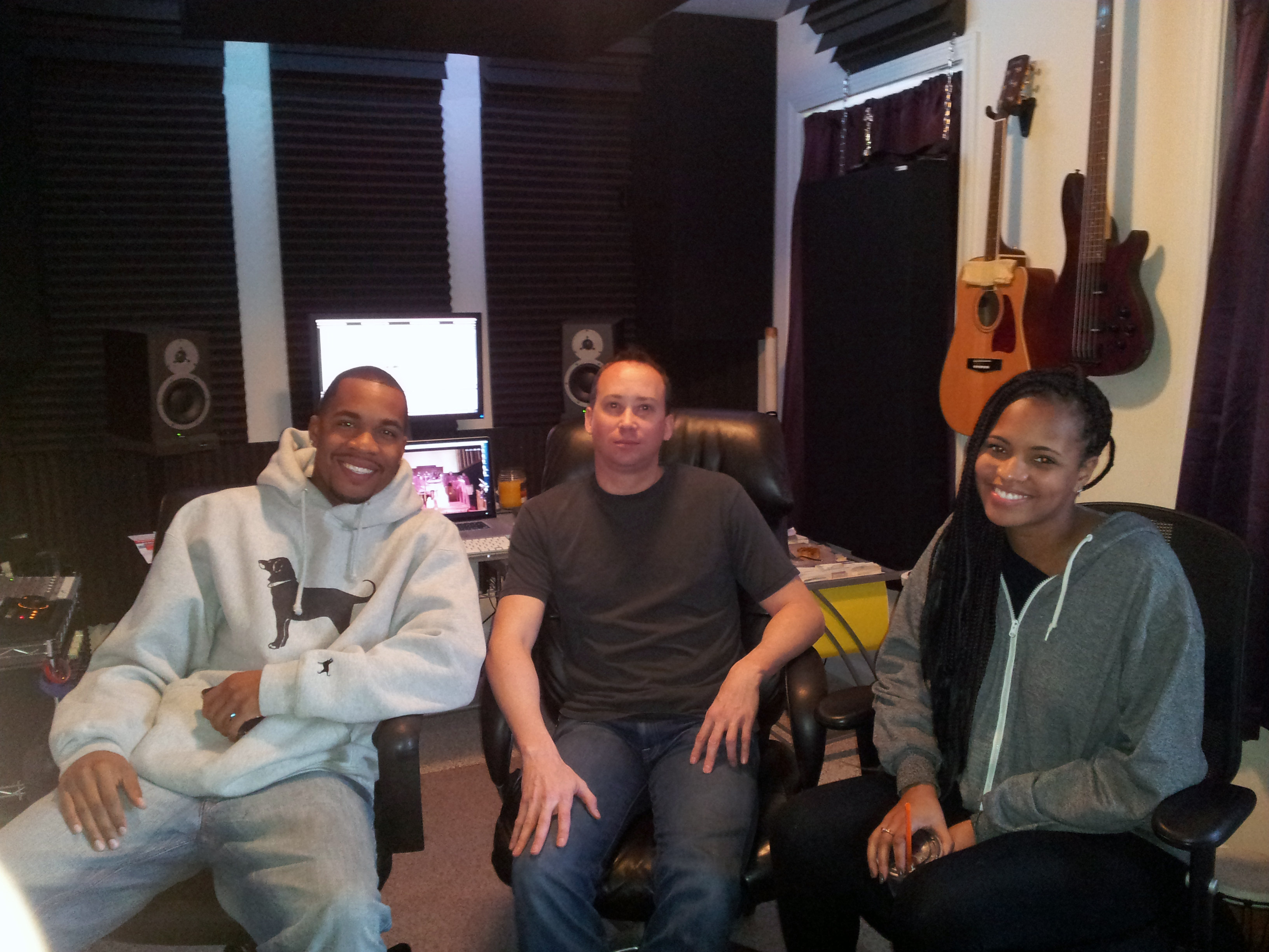Jae Williams, John Eye, and Kayla in the control room at Beach House Studios