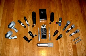 A photo of the studio microphone collection