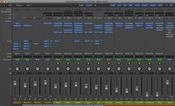 An image of the mixer in Logic Pro X