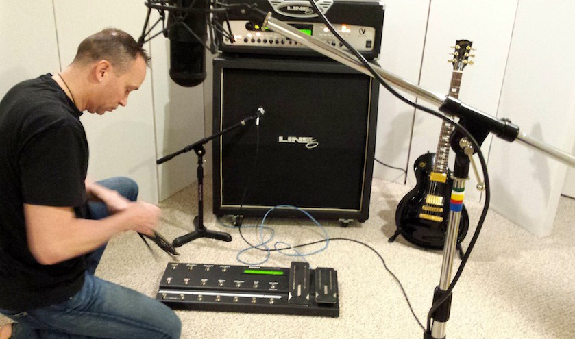 John Eye setting up a guitar recording session at Beach House Studios