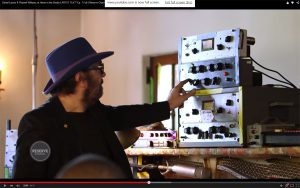 Daniel Lanois in his studio showing what he uses in his vocal chain.
