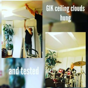 john Eye and Keith Martinelli hanging GIK Acoustics 242 panels as a ceiling cloud above a drum kit, and Then Keith martinelli playing drums in the finished room
