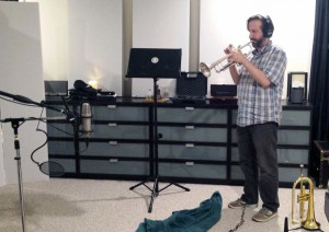 Chris Barrett tracking trumpet at Beach House Studios.