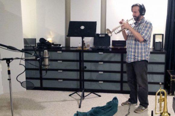Chris Barrett tracking trumpet at Beach House Studios.